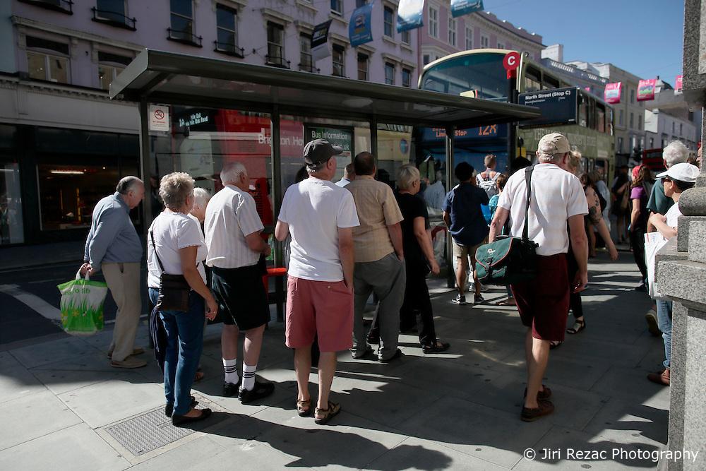 UK ENGLAND BRIGHTON 8SEP16 - Elderly people queue at a bus stop in Brighton town centre.<br /> <br /> jre/Photo by Jiri Rezac<br /> <br /> © Jiri Rezac 2016