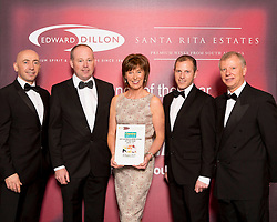 Centra finalist in the Edward Dillon/Santa Rita Estates Centra Off Licence and Wine Store of the Year was Centra Tankfield Stores, Tramore, Co. Waterford. Pictured from left to right are Andres Alvarado, Santa Rita Estates, Donagh McClafferty, Musgraves, Donal Hickson, Ailish Hickson and Anthony Grace from Centra Tankfield Stores, Tramore and Tony Reade, Edward Dillon.