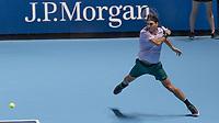 Tennis - 2017 Nitto ATP Finals at The O2 - Day Five<br /> <br /> Group Boris Becker Singles: Roger Federer (Switzerland) Vs Marin Cilic (Croatia)<br /> <br /> Roger Federer (Switzerland) with a forehand return at the O2 Arena<br /> <br /> COLORSPORT/DANIEL BEARHAM