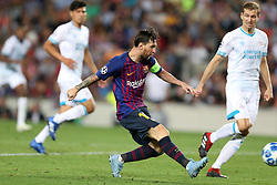 September 18, 2018 - Barcelona, Catalonia, Spain - Lionel Messi of FC Barcelona kicks the ball to score his side's fourth goal during the UEFA Champions League, Group B football match between FC Barcelona and PSV Eindhoven on September 18, 2018 at Camp Nou stadium in Barcelona, Spain (Credit Image: © Manuel Blondeau via ZUMA Wire)