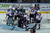 KELOWNA, CANADA - FEBRUARY 24:  The Kamloops Blazers get in the face of the Kelowna Rockets on February 24, 2018 at Prospera Place in Kelowna, British Columbia, Canada.  (Photo by Marissa Baecker/Shoot the Breeze)  *** Local Caption ***
