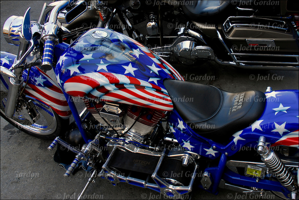Motorcycle with painted American Flag on it.<br />