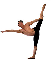 caucasian man gymnastic stretch balance isolated studio on white background