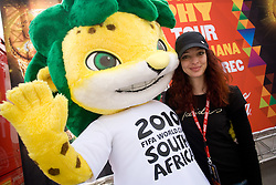 Official mascot leopard Zakumi at VIP reception of FIFA World Cup Trophy Tour by Coca-Cola, on March 29, 2010, in BTC City, Ljubljana, Slovenia.  (Photo by Vid Ponikvar / Sportida)