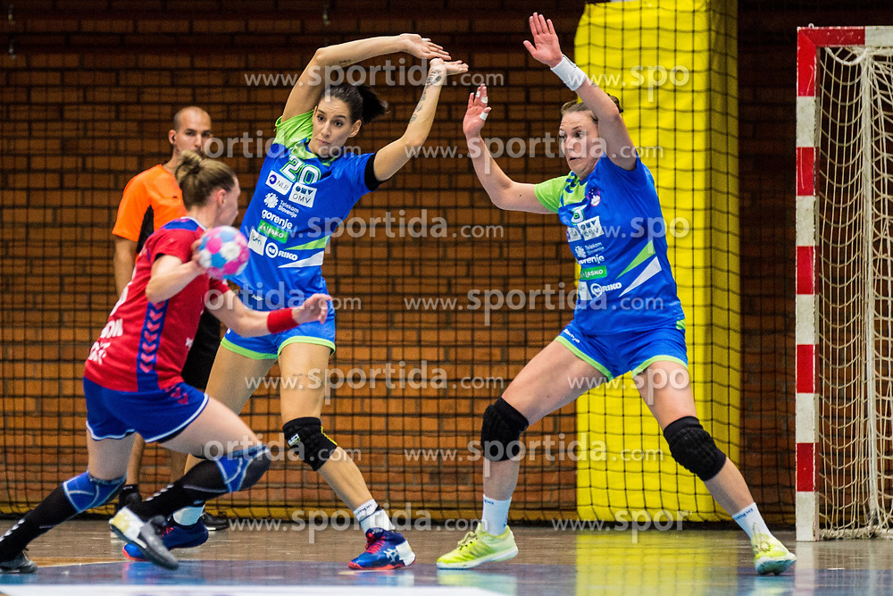 Alja Koren and Maja Vojnovic of Slovenia during friendly game between national teams of Slovenia and Serbia on 29th of September, Celje, Slovenija 2018