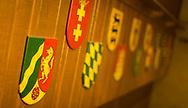 Emblems / Crests in Der Stiftskeller in Memorial Union, 2013.