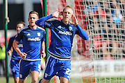 Cardiff City striker, Lex Immers (27) celebrates his goal in front of the Cardiff fans 1-0 during the Sky Bet Championship match between Bristol City and Cardiff City at Ashton Gate, Bristol, England on 5 March 2016. Photo by Shane Healey.