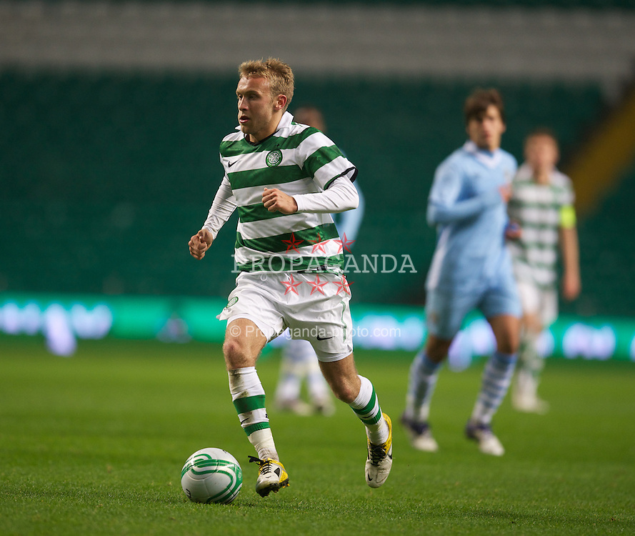 GLASGOW, SCOTLAND - Monday, November 7, 2011: Glasgow Celtic's Dylan McGeouch in action against Manchester City during the NextGen Series Group 1 match at Celtic Park. (Pic by David Rawcliffe/Propaganda)