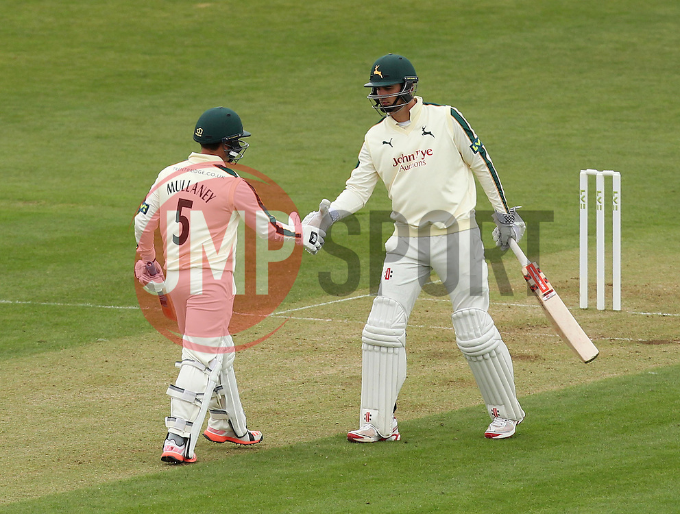 Nottinghamshire's Steven Mullaney is congradulated by Nottinghamshire's Alex Hales after reaching fifty - Photo mandatory by-line: Robbie Stephenson/JMP - Mobile: 07966 386802 - 26/04/2015 - SPORT - Cricket - Southampton - The Ageas Bowl - Hampshire v Nottinghamshire - County Championship Division One