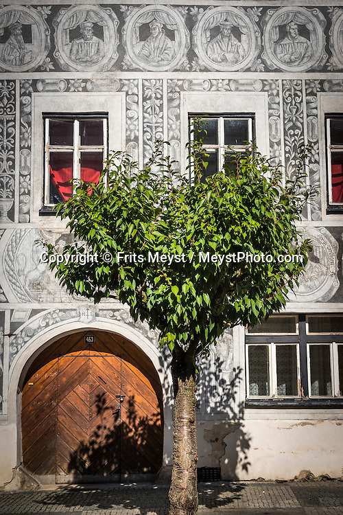 Slavonice, Moravia, Czech Republic, September 2015. The ornament adorning the Renaissance townhouses at the heart of one of the most photogenic Czech towns is akin to the most delicate, lace-like pattern, chiselled into fine stone. Discover the unique charm of Slavonice, a town near the border with Austria encircled by the ruggedly beautiful landscapes of the Czech Canada area. Southern Moravia is most famous for its wine,  rolling hills and pretty landscapes. Photo by Frits Meyst / MeystPhoto.com