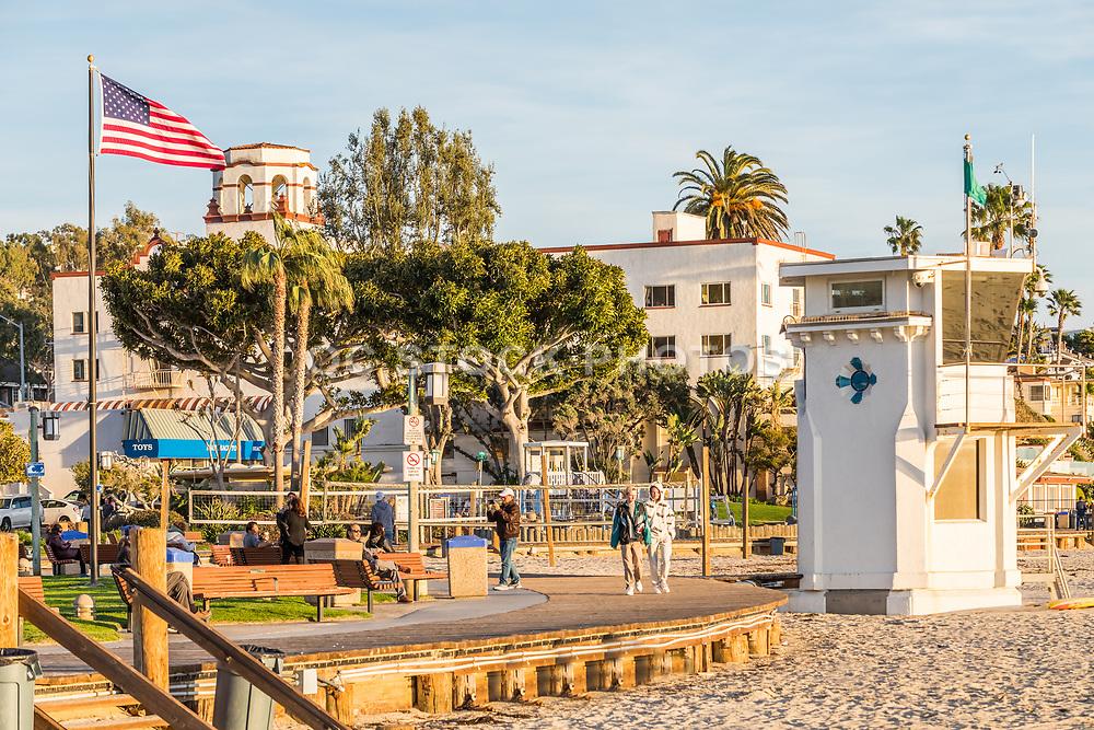 Laguna Beach Lifeguard Tower and Main Beach At Sunset