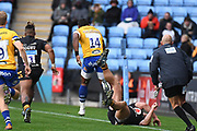 Bath wing Semasa Rokoduguni (14) runs with the ball  during the Gallagher Premiership Rugby match between Wasps and Bath Rugby at the Ricoh Arena, Coventry, England on 2 November 2019.