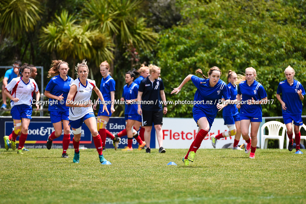 Auckland players warm-up before a match against Southern Utd.<br /> Auckland Football Federation v Southern Utd, National Women's League Premliminary Final, Keith Hay Park, Auckland, New Zealand. 03 December 2017. &copy; Copyright Image: Marc Shannon / www.photosport.nz.