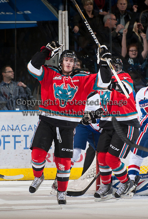 KELOWNA, CANADA - NOVEMBER 23:  JT Barnett #17 of the Kelowna Rockets celebrates a goal against the  Regina Pats at the Kelowna Rockets on November 23, 2012 at Prospera Place in Kelowna, British Columbia, Canada (Photo by Marissa Baecker/Shoot the Breeze) *** Local Caption *** JT Barnett;