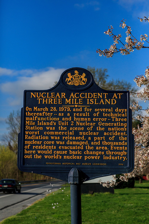 The historical sign at Three Mile Island near Middletown, PA.