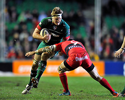 Jamie Gibson of Leicester Tigers takes on Sebastien Tillous-Borde of Toulon - Photo mandatory by-line: Patrick Khachfe/JMP - Mobile: 07966 386802 07/12/2014 - SPORT - RUGBY UNION - Leicester - Welford Road - Leicester Tigers v Toulon - European Rugby Champions Cup