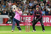 Middlesex win - Eoin Morgan of Middlesex hits the ball over the boundary for six runs to win the match during the Vitality T20 Blast South Group match between Somerset County Cricket Club and Middlesex County Cricket Club at the Cooper Associates County Ground, Taunton, United Kingdom on 30 August 2019.