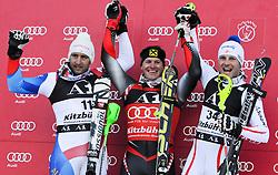 23.01.2011, Hahnenkamm, Kitzbuehel, AUT, FIS World Cup Ski Alpin, Men, Slalom, im Bild // das Podium in der Kombination, v.l. Silvan Zurbriggen (SUI), Ivica Kostelic (CRO), Romed Baumann (AUT) // during the men slalom race at the FIS Alpine skiing World cup in Kitzbuehel, EXPA Pictures © 2011, PhotoCredit: EXPA/ S. Zangrando