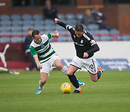 Buckie Thistle&rsquo;s Kevin Fraser tackles Dundee&rsquo;s Scott Allan - Dundee v Buckie Thistle, Betfred Cup at Dens Park, Dundee, Photo: David Young<br /> <br />  - &copy; David Young - www.davidyoungphoto.co.uk - email: davidyoungphoto@gmail.com