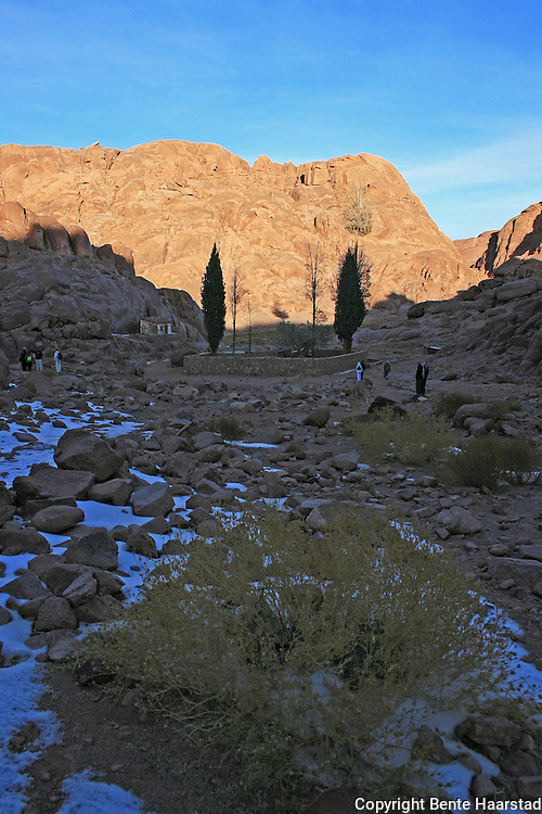 """""""The mountain of Moses.""""is ascended by 3700 steps carved by a monk (the """"steps of repentance""""). The path leads past the """"Spring of Moses"""" and a chapel dedicated to the Virgin Mary. Closer to the summit is the """"Spring of Elijah""""."""