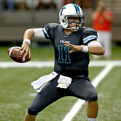 Sep 7, 2013; New Orleans, LA, USA; Tulane Green Wave quarterback Nick Montana (11) during a game against the South Alabama Jaguars at the Mercedes-Benz Superdome. Mandatory Credit: Derick E. Hingle-USA TODAY Sports