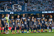 Victory line up before the match at the Hyundai A-League Round 7 soccer match between Melbourne Victory v Adelaide United at Marvel Stadium in Melbourne, Australia.