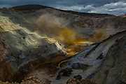 Yellow dust, associated to higher fineness of gold deposits, billows following a detonation to remove 100.000 tons of soil for gold mining in Yanacocha gold mine, Peru, Thursday, October 22, 2015.(Hilaea Media/ Dado Galdieri)