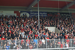 24.09.2014, Voith Arena, Heidenheim, GER, 2. FBL, 1. FC Heidenheim vs 1. FC Nuernberg, 7. Runde, im Bild Club Fans haengen die Banner nach 10 min ab // during the 2nd German Bundesliga 7th round match between 1. FC Heidenheim and 1. FC Nuernberg at the Voith Arena in Heidenheim, Germany on 2014/09/24. EXPA Pictures © 2014, PhotoCredit: EXPA/ Eibner-Pressefoto/ Langer<br /> <br /> *****ATTENTION - OUT of GER*****