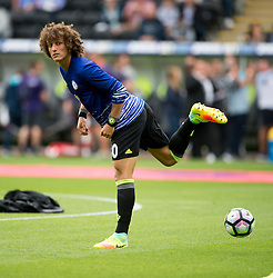 David Luiz  of Chelsea warms up prior to kick off. - Mandatory byline: Alex James/JMP - 07966386802 - 11/09/2016 - FOOTBALL - Barclays premier league -swansea,Wales - Swansea v Chelsea  -