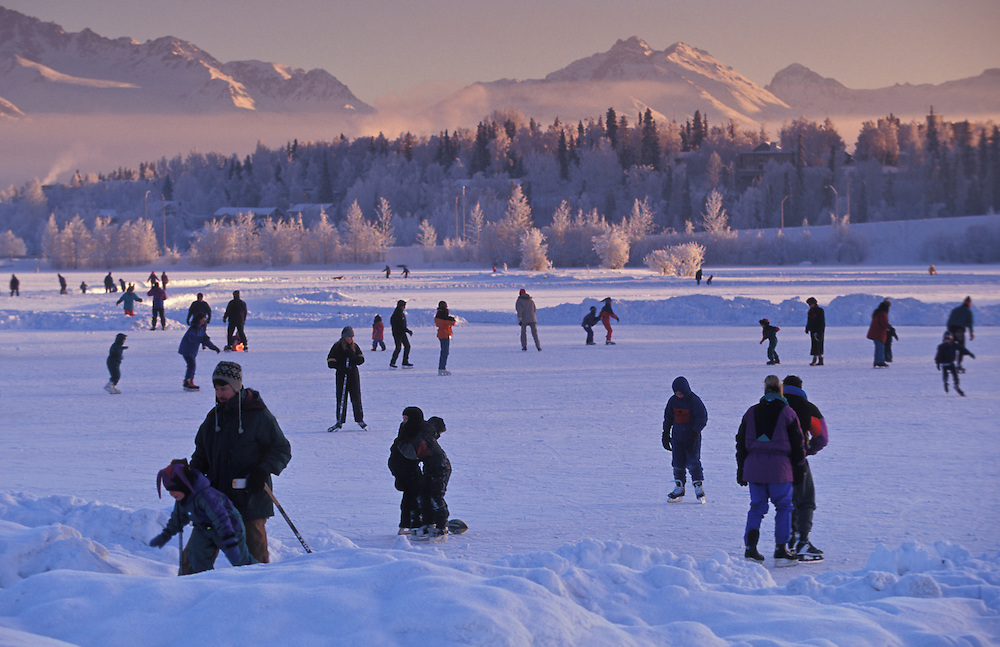 "Westchester Lagoon becomes a winterwonderland for ice-skaters, particularly when tempatures drop well below freezing and the moisture in the air crystalizes on the trees creating ""leaves of ice"""