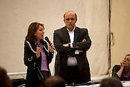 Roma 5 Maggio 2011.Assemblea contro l'apertura  di un casino' alla sala del cinema Palazzo in Piazza dei Sanniti occupata  da associazioni e dal comitato di quartiere. Sabina Guzzanti e il Presidente del III municipio Dario Marcucci