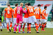 Luton Town players celebrate their 1-0 win over Plymouth after final whistle in the Sky Bet League 2 match between Plymouth Argyle and Luton Town at Home Park, Plymouth, England on 19 March 2016. Photo by Graham Hunt.