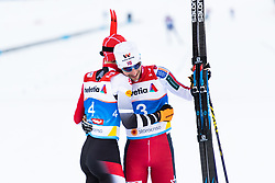 February 22, 2019 - Seefeld In Tirol, AUSTRIA - 190222 Franz-Josef Rehrl of Austria and Jan Schmid of Norway hug after competing in men's nordic combined 10 km Individual Gundersen during the FIS Nordic World Ski Championships on February 22, 2019 in Seefeld in Tirol..Photo: Joel Marklund / BILDBYRÃ…N / kod JM / 87882 (Credit Image: © Joel Marklund/Bildbyran via ZUMA Press)