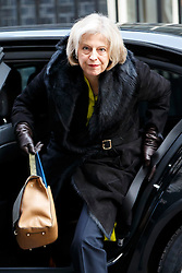 © Licensed to London News Pictures. 27/01/2015. LONDON, UK. Home Secretary Theresa May attending to a cabinet meeting in Downing Street on Tuesday, 27 January 2015. Photo credit: Tolga Akmen/LNP