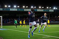 Fotball , Eliteserien<br /> 20.10.2019 , 20191020<br /> Strømsgodset - Lillestrøm <br /> Godsets Moses Dramwi Mawa jubler for sitt mål til 1-0<br /> Foto: Sjur Stølen / Digitalsport
