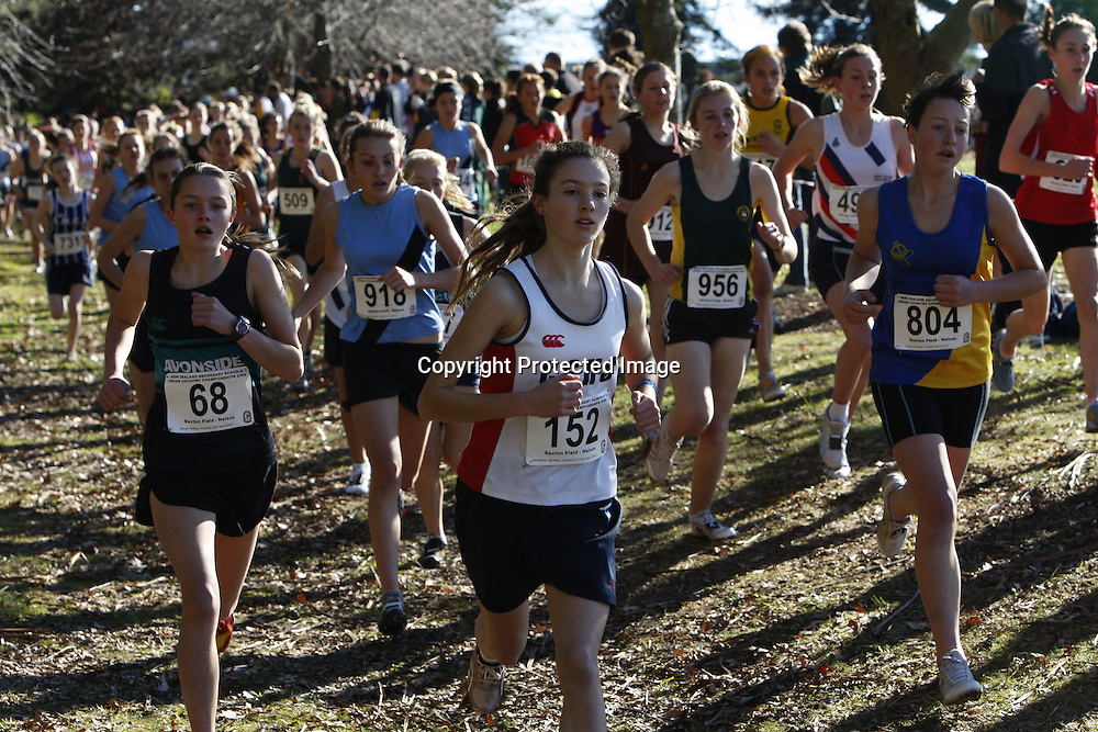 The junior girls 3000m event during Saturday's New Zealand Secondary Schools Cross Country Championships at Saxton Field. 20 June 2009. Photo: PHOTOSPORT