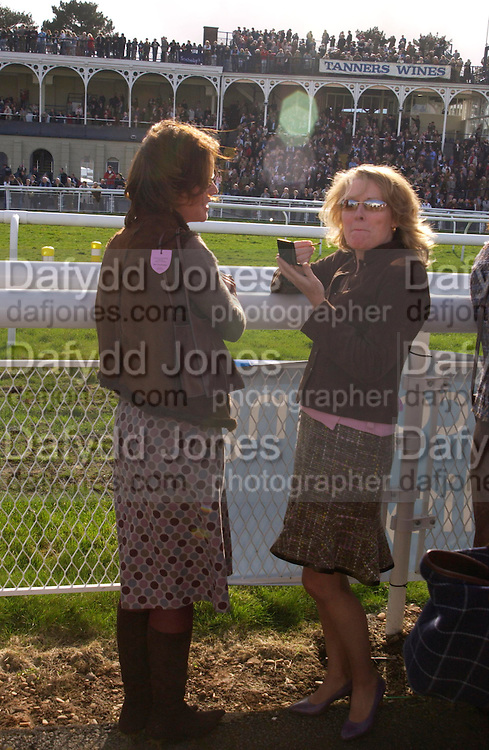 Mrs. Mark Wiggin and Mrs. Patrick Wrigley. Ludlow Charity Race Day,  in aid of Action Medical Research. Ludlow racecourse. 24 march 2005. ONE TIME USE ONLY - DO NOT ARCHIVE  © Copyright Photograph by Dafydd Jones 66 Stockwell Park Rd. London SW9 0DA Tel 020 7733 0108 www.dafjones.com
