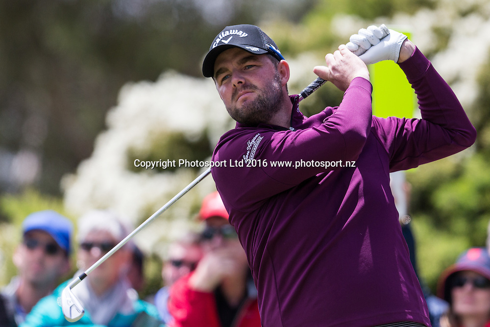 Marc Leishman (AUS) tees off during the round 1 of the World Cup of Golf at Kingston Heath Golf Club, Melbourne Australia. Thursday 24th November 2016. Copyright Photo Brendon Ratnayake / www.photosport.nz
