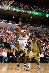 Virginia guard Sean Singletary (44) shoots against GT.  The Virginia Cavaliers men's basketball team fell to the Georgia Tech Yellow Jackets 92-82 in overtime at the John Paul Jones Arena in Charlottesville, VA on January 27, 2008.