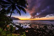 Sunset over the Na Pali Coast from Hideaways Beach, Princeville, Kauai, Hawaii USA