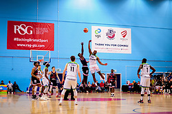 Daniel Edozie of Bristol Flyers and Willie Clayton of Manchester Giants contend for the ball - Photo mandatory by-line: Ryan Hiscott/JMP - 13/04/2019 - BASKETBALL - SGS Wise Arena - Bristol, England - Bristol Flyers v Manchester Giants - British Basketball League Championship
