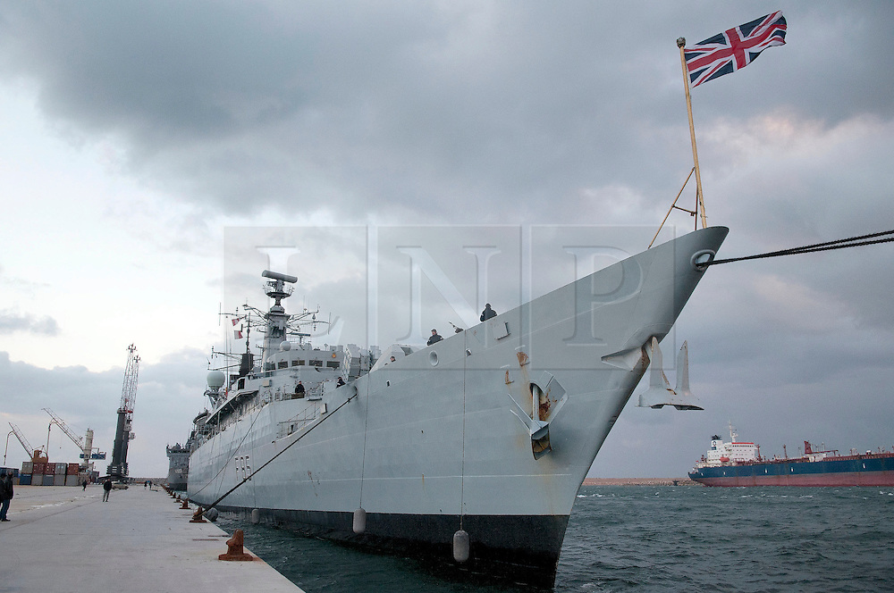© under license to London News Pictures. 24/02/2011. The HMS Cumberland docks in the Port of Benghazi in Libya to evacuate 200 people from various nations. Photo credit should read Michael Graae/London News Pictures