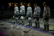 KELOWNA, CANADA - DECEMBER 07:  Seattle lined up at the blue line pregame at the Kelowna Rockets game on December 07, 2016 at Prospera Place in Kelowna, British Columbia, Canada.  (Photo By Cindy Rogers/Nyasa Photography,  *** Local Caption *** Ethan Bear #25 of the Seattle Thunderbirds, Jarret Tyszka #5 of the Seattle Thunderbirds, Sami Moilanen #18 of the Seattle Thunderbirds, Nolan Volcan #26 of the Seattle Thunderbirds, Scott Eansor #8 of the Seattle Thunderbirds