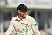 Liam Livingstone of Lancashire grins after nearly taking a spectacular catch during the Specsavers County Champ Div 1 match between Somerset County Cricket Club and Lancashire County Cricket Club at the Cooper Associates County Ground, Taunton, United Kingdom on 5 September 2018.