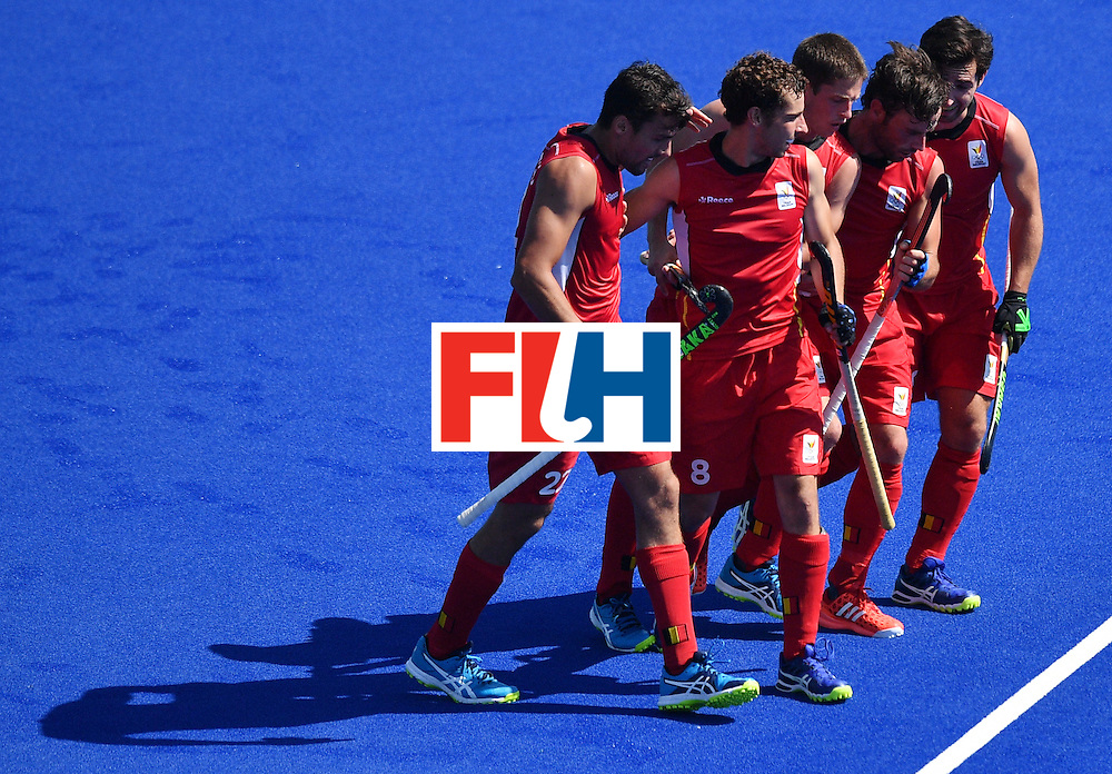 Belgium's players celebrate a goal with teammates during the men's quarterfinal field hockey Belgium vs India match of the Rio 2016 Olympics Games at the Olympic Hockey Centre in Rio de Janeiro on August 14, 2016. / AFP / Carl DE SOUZA        (Photo credit should read CARL DE SOUZA/AFP/Getty Images)
