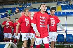 CARDIFF, WALES - Friday, October 8, 2010: Wales' Darcy Blake wearing a 'Show Racism the Red Card' t-shirt before the UEFA Euro 2012 Qualifying Group G match against Bulgaria at the Cardiff City Stadium. (Pic by David Rawcliffe/Propaganda)
