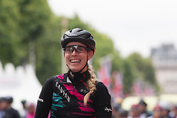 Hannah Barnes (GBR) of CANYON//SRAM Racing smiles on the start line of the Prudential Ride London Classique - a 66 km road race, starting and finishing in London on July 29, 2017, in London, United Kingdom. (Photo by Balint Hamvas/Velofocus.com)