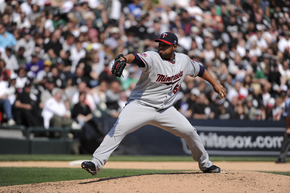CHICAGO - APRIL 10:  Jose Mijares #50 of the Minnesota Twins pitches against the Chicago White Sox on April 10, 2010 at U.S. Cellular Field in Chicago, Illinois.  The Twins defeated the White Sox 2-1.  (Photo by Ron Vesely)