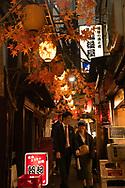A couple walking through Omoide-yokocho, an alley of small yakatori restaurants in Shinjuku, Tokyo, Honshu, Japan
