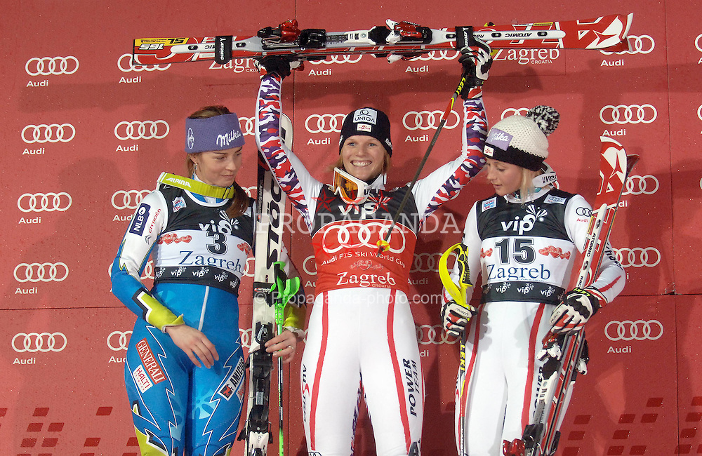 03.01.2012, Crveni Spust, Sljeme, CRO, FIS Weltcup Ski Alpin, Zagreb, Damen Slalom Podium, im Bild Winner of Snow Queen Trophy Marlies Schild, second placed Tina Maze and third place Michaela Kirchgasser on Podium during Slalom race of FIS Ski Alpine World Cup at 'Crveni Spust' course in Sljeme, Zagreb, Croatia on 2012/01/03. EXPA Pictures © 2012, PhotoCredit: EXPA/ nph/ PIXSELL/ Daniel Kasap..***** ATTENTION - OUT OF GER, CRO *****